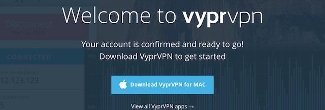 VyprVPNに登録・申し込み完了