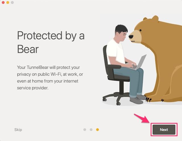 macOSでTunnelBear VPNのアプリにログイン&メールアドレス認証